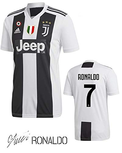 SporteCO Home Fan Soccer Jerseys for Men from Soccer European Teams Such as Juventus Ronaldo - PSG Neymar - Real Madrid Modric - Barcelona FC Messi (Juve Black & White, Small)