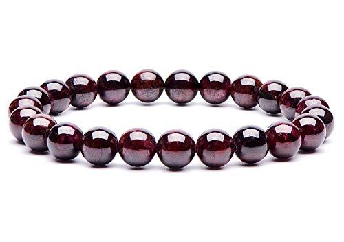 Semi Precious Bracelet 8mm Round Beads Natural Gemstone Handmade Stretch Bracelet Unisex Jewelry (AA Grade Mozambique Red Garnet) - Garnet Bracelet Jewelry