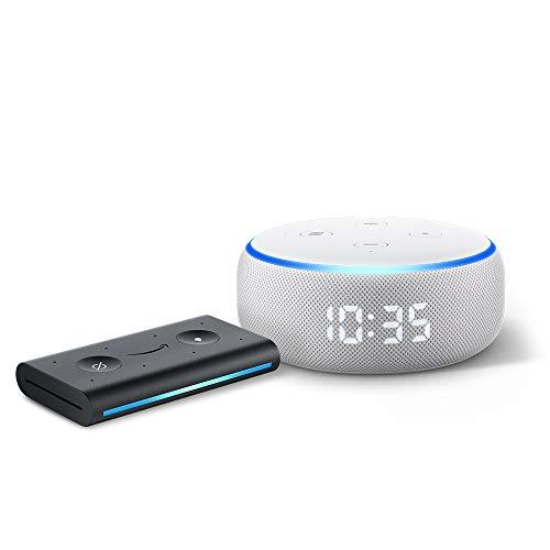 Echo Dot with clock (Sandstone) Bundle with Echo Auto