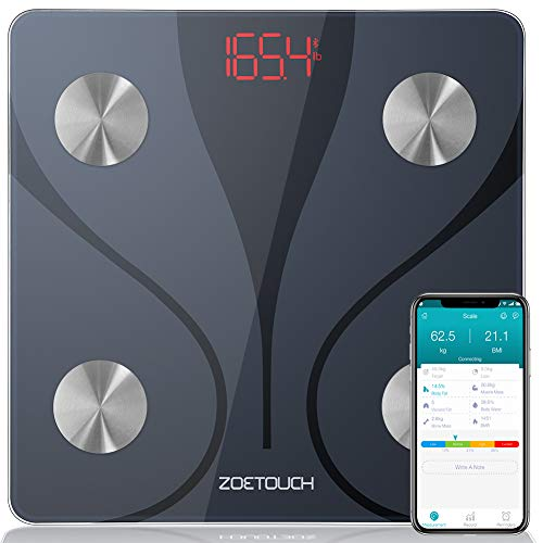 ZOETOUCH Body Fat Scale with iOS and Android App Smart BMI Scale Digital Wireless Bathroom Weight