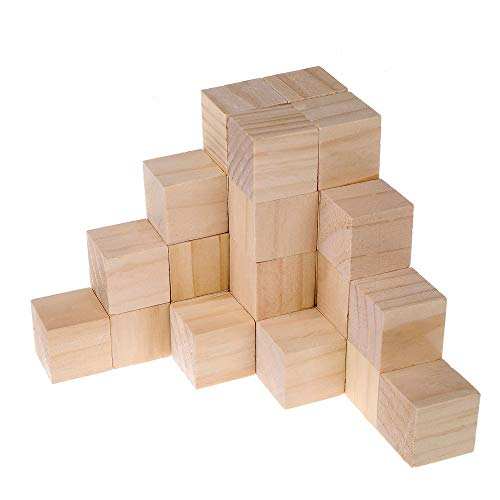 Supla 40pcs 1.5inch - Natural Solid Wood Square Blocks Wood Cubes Wood Cube Blocks - for Puzzle Making, Crafts, and DIY Projects (40pcs) (Blocks Wood Square)