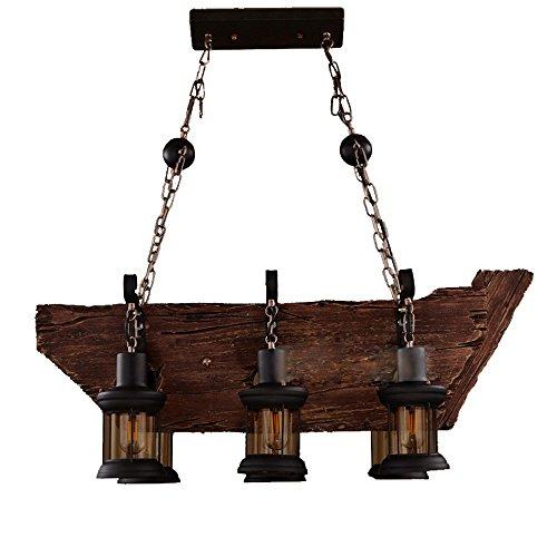 Amazon.com: Lámpara de techo de metal de madera y cristal ...