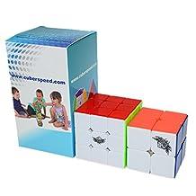Kingcube Speedcubing Beginner Bundle Cyclone boys 2x2 stickerless & Cyclone boys 3x3 Feiwu 3x3 Stickerless Speed cube