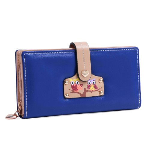 Damara Women Large Practical Wallet Snap Closure Purse,Dark Blue