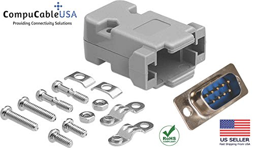 (CompuCablePlusUSA.com Best DB9 Male Solder Cup Connector Kit With Plastic Hood Best Complete DB9 Male Solder Type set)