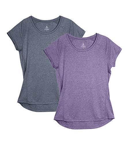 icyzone Dames Fitness Sport T-Shirt Korte Mouw Running Shirt Gym Training Functie Shirt Pack van 2