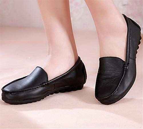 Flats Ladies C Casual Round Work Comfortable Shoes Shoes Head Leather Single Maternity FLYRCX Slip Shoes d8O6SqvwdB