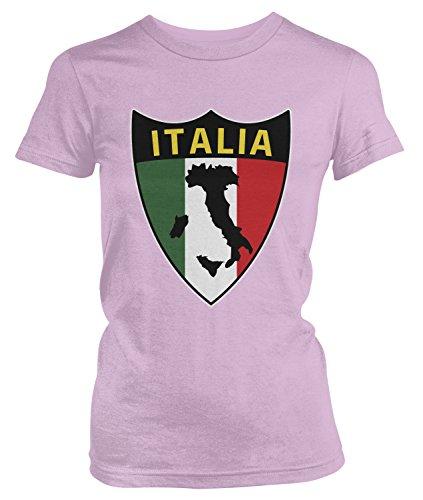 (Amdesco Junior's Italia Flag Shield, Love Home Italy, Italian T-Shirt, Light Pink Small)
