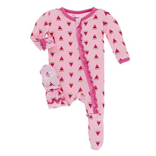 KicKee Pants Little Girls Print Muffin Ruffle Footie with Zipper - Lotus Watermelon, 3-6 Months