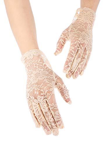SATINIOR Ladies Lace Gloves Elegant Short Gloves Courtesy Summer Gloves for Wedding Dinner Parties (Skin Color 2)