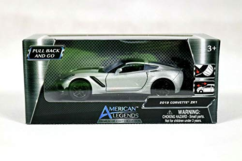 American Legends 2019 Corvette ZR1 Die Cast Model - Pull Back and go Friction Motor (Grey) ()