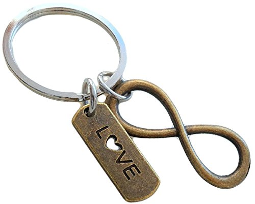 Love Tag with Bronze Infinity Symbol Keychain - You and Me for Infinity