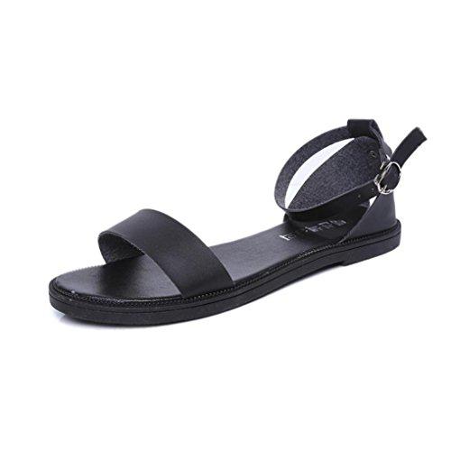 tongs d'été Noir Fashion en Mesdames plates ® confortables cuir Transer sandales femmes vwXWqP