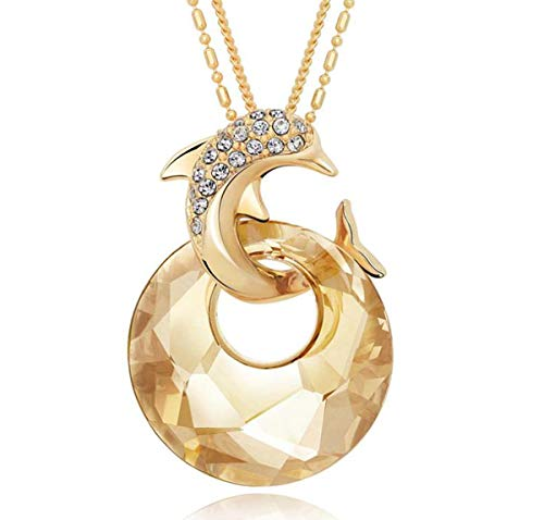 Dolphin Jumping Through Hoop - Onlyfo 18K Gold Plated Austria Crystal and Diamond Accent Dolphin Jumping Through Hoop Pendant Necklace with Jewelry Box,Long Dolphin Necklace for Women (Golden)