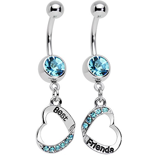 Body Candy Stainless Steel Baby Blue Accent Best and Friends Matching Heart Dangle Belly Ring Set