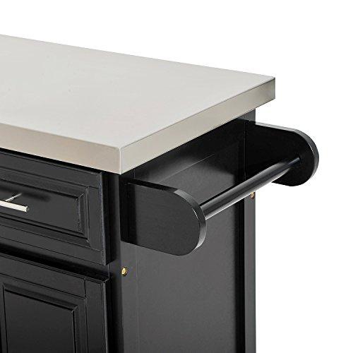 HomCom Modern Rolling Kitchen Island Storage Cart w//Stainless Steel Top Black