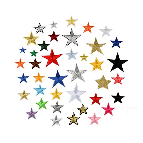 BoomYou Embroidered Patches 36 Packs Self Adhesive Pentagram Embroidered Custom Five Pointed Star Backpack Patches for Men, Women, Boys, Girls, ()