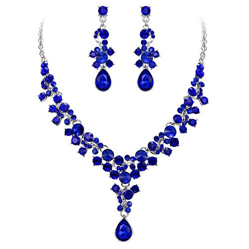 EVER FAITH Crystal Wedding Engagement Floral Teardrop Necklace Earrings Set Navy Blue Silver-Tone