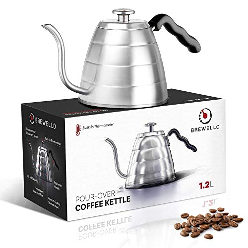 - Brewello Pour Over Coffee Kettle with Easy to Read Built- In Thermometer for Exact Temperature and Gooseneck Spout Perfect for Hand Drip Coffee (40 Ounce | 1.2 Litre)