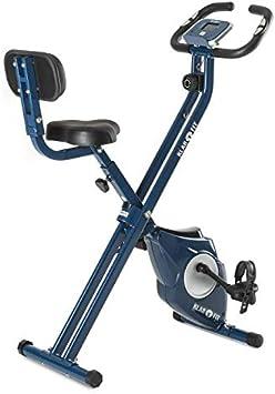 Klarfit Azura CF Blue Edition - Bicicleta estática , Ordenador de entrenamiento , Medidor de pulso , Respaldo , Sillín de altura ajustable , Peso usuario soportado 100kg , Peso a rotar
