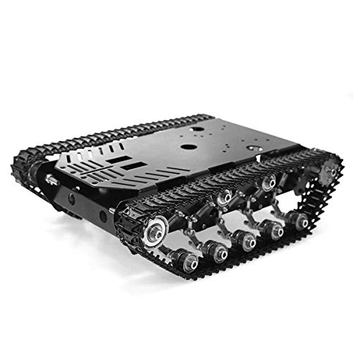 heneng Tracked Robot Tank Platform Smart Car Chassis Solid Structure 22 lbs Load Capacity 2 PCS Powerful DC 12 V Motor for Arduino, Raspberry Pi STEM , Not Need Assembly