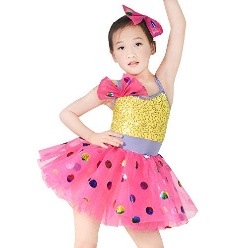MiDee Ballet Costume Dance Dress For Children Camisole Sequin Polka Dots (MC, Purple)