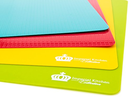 Bargain #1 Best Cutting Mat Set. Colorful Kitchen Cutting Board Set, Super Easy Clean Modern Cutting Boards, Nice Flexible Non-Stick Surface. 4 Pieces. Imperial Kitchen Collection dispense