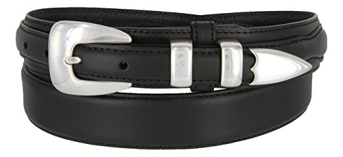 Oil Tanned Genuine Leather Ranger Belt With Sterling Silver Smooth Buckle