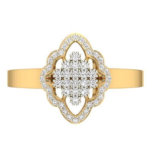 Or jaune 18K 0.25CT TW Round-cut-diamond (IJ | SI) en diamant