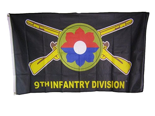 AES 3x5 9th Infantry Division Old Reliables Knitted Nylon Premium Flag 3'x5' House Banner Double Stitched Fade Resistant Premium Quality ()