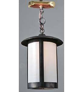 Meyda Tiffany Custom Lighting 106025 Fulton Plain 1-Light Ceiling Pendant, Timeless Bronze Finish with White Art Glass Panels