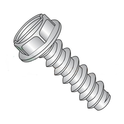 """#12 x 1/2"""" Type B Self-Tapping Screws/Slotted/Hex Washer Head/18-8 Stainless Steel (Carton: 1,000 pcs)"""