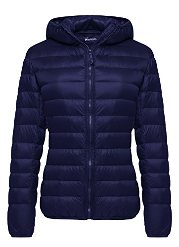 Wantdo Women's Hooded Packable Ultra Light Weight Short Down Jacket(Navy, XX-Large)