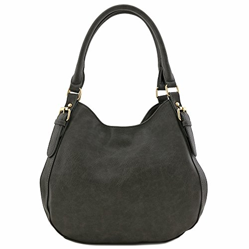 Light weight Faux Medium Compartment Charcoal Bag Leather Hobo Grey 3 rrdwqxT