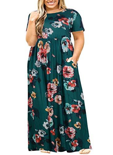 Nemidor Women Short Sleeve Loose Plain Casual Plus Size Long Maxi Dress with Pockets (20W, Green Print)