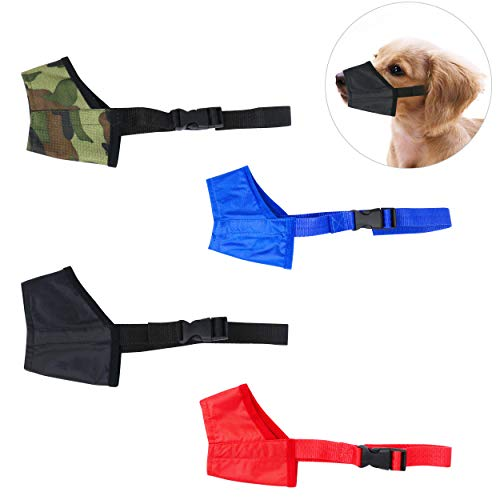 YAODHAOD Dog Muzzles Suit, Four-Color Adjustable Breathable Small Medium Large Extra Dog Muzzles for Anti-Biting Anti-Barking (4 PCS) (Size 4, Four-Color Suit)