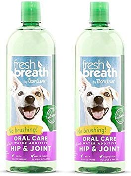 TropiClean Fresh Breath Plus Hip & Joint Oral Care Water Additive for Pets (2 Pack) by TropiClean