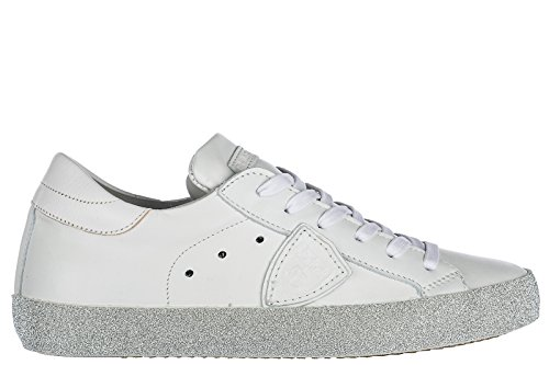 Glitter Shoes Trainers White Women's Paris Leather MODEL PHILIPPE Sneakers AW0qTgxn