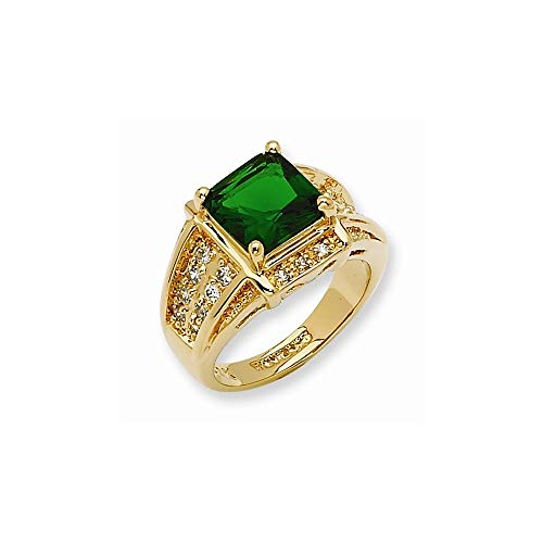 Jacqueline Kennedy Collection Gold-Plated Swarovski Crystal Green Princess-Cut Ring, Size - Jacqueline Kennedy Collection