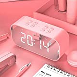 Mini Bluetooth Speakers Portable Wireless, Stylish Mirror Bluetooth Speakers with LED Display Alarm Clock for Beach, Car, Home, Outdoors, Travel, Party-Compatible with iPhone, Samsung and More Pink