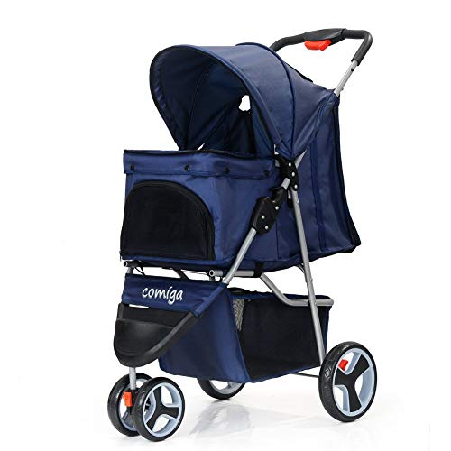 comiga Folding Pet Stroller for Dogs Cats, Three-Wheeled Animal Carrier Cage with Rain Cover Storage Basket and Mesh Window, Portable Waterproof and Breathable Blue