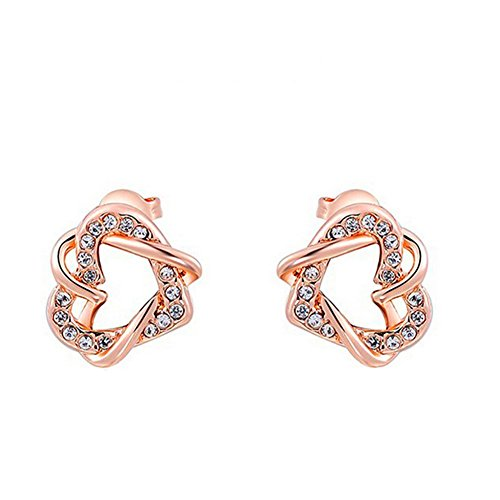 KaiSasi Women Wrapped Earrings Rose Gold Double Heart