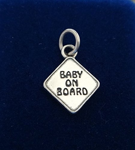 Fine Charms Sterling Silver 17x14mm Pregnancy Baby on Board Car Window Sign
