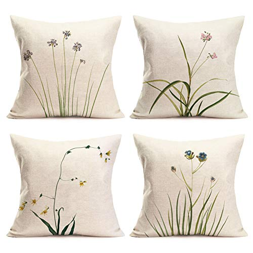 Qinqingo Pillow Covers Spring Floral & Plants Decorative Throw Pillow Case Cushion Cover Cotton Linen Square Pillowcase for Sofa 18 x 18 Inches, Set of 4 (Green Plant-1)
