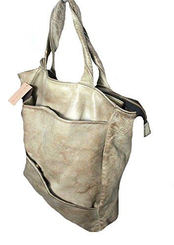 MIALUIS borsa donna pelle trattata mastice modello PILL 100% pelle MADE IN ITALY