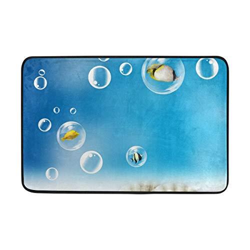 Blue Beach Seashells Ocean Blister Doormat Indoor/Outdoor Washable Garden Office Door Mat,Kitchen Dining Living Hallway Bathroom Pet Entry Rugs with Non Slip Backing 23.6 X 15.7 inch