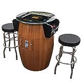 Creative Arcades Full-Size Commercial Grade Barrel Style Pub Arcade Machine | Woodgrain Shell | 60 Classic Games | 2 Sanwa Joysticks | 2 Stools | 3-Year Warranty | Round Glass Top