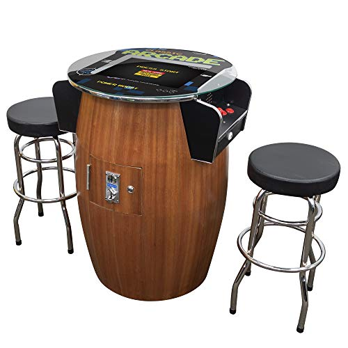 Creative Arcades Full-Size Commercial Grade Wine Barrel Style Pub Arcade Machine | Woodgrain Shell | 60 Classic Games | 2 Sanwa Joysticks | 2 Stools | 3-Year Warranty | Round Glass Top