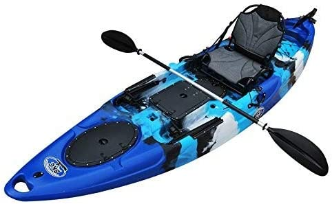 BKC RA220 11.6 Single Fishing Kayak W Upright Back Support Aluminum Frame Seat, Paddle, Rudder Included Solo Sit-On-Top Angler Kayak
