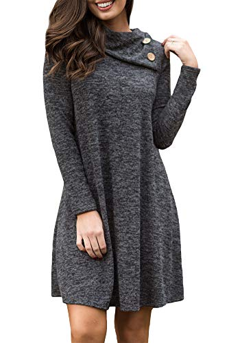 For G and PL Womens Cotton Solid Long Sleeve Casual Swing Cowl Neck Button T-Shirt Dress Dark Grey XL